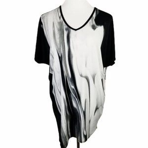 FYLO London Black Gray Marble Oversize Top NWT